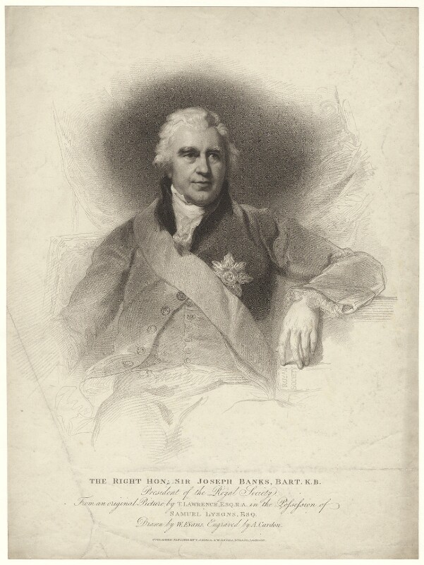 Sir Joseph Banks, Bt, by Anthony Cardon, published by  T. Cadell & W. Davies, after  William Evans, after  Sir Thomas Lawrence, published 1 January 1810 - NPG D7499 - © National Portrait Gallery, London