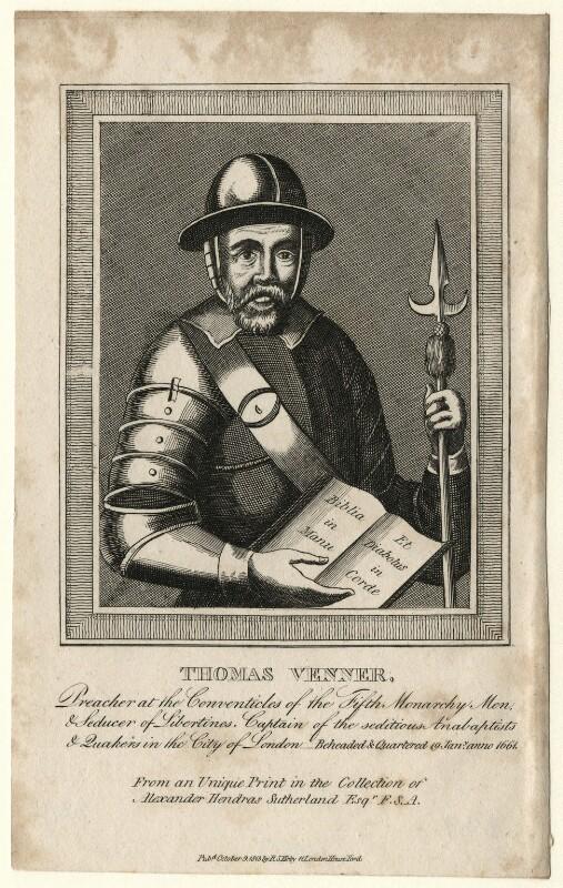 Thomas Venner, after Unknown artist, published 1813 - NPG D7533 - © National Portrait Gallery, London