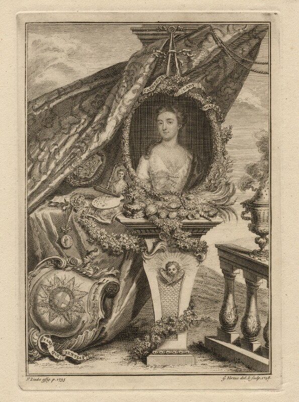 Catherine Walpole (née Shorter), Lady Walpole, by George Vertue, after  Christian Friedrich Zincke, 1748 (1735) - NPG D7560 - © National Portrait Gallery, London