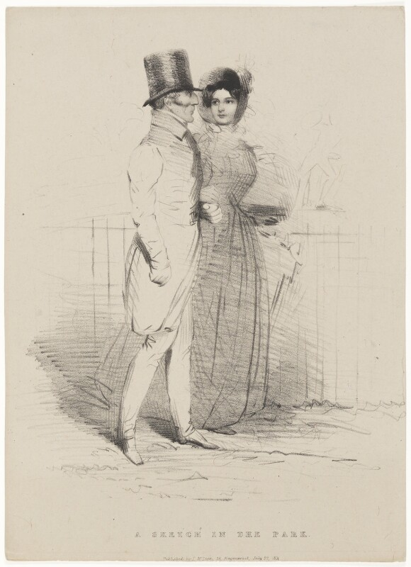 'A Sketch in the Park' (Arthur Wellesley, 1st Duke of Wellington; Harriet Arbuthnot (née Fane)), published by Thomas McLean, after  Unknown artist, published 27 July 1834 - NPG D7604 - © National Portrait Gallery, London