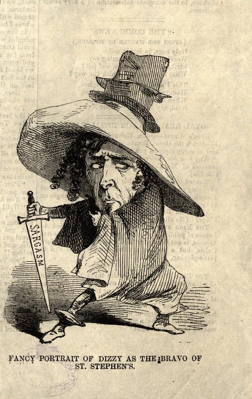 Benjamin Disraeli, Earl of Beaconsfield ('Fancy Portrait of Dizzy as the Bravo of St. Stephen's'), after Unknown artist, mid 19th century - NPG D7662 - © National Portrait Gallery, London