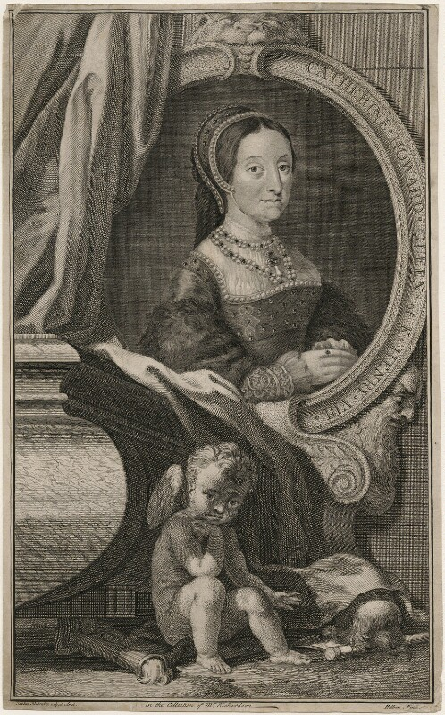 Unknown woman engraved as Catherine Howard, by Jacobus Houbraken, after  Hans Holbein the Younger, 1747-1752 - NPG D7667 - © National Portrait Gallery, London