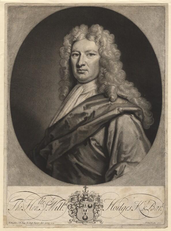 Sir William Hodges, 1st Bt, by John Smith, after  Sir Godfrey Kneller, Bt, 1715 (1713) - NPG D7721 - © National Portrait Gallery, London