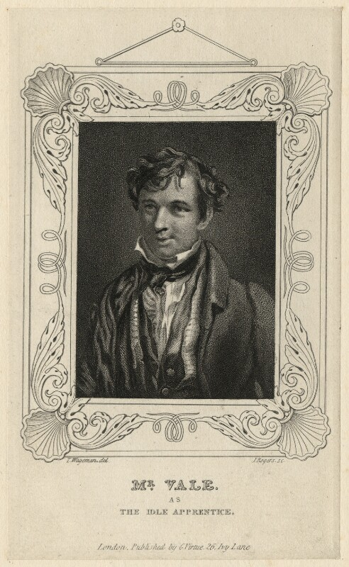 Samuel Vale as the Idle Apprentice, by John Rogers, published by  George Virtue, after  Thomas Charles Wageman, published 1827 - NPG D7723 - © National Portrait Gallery, London
