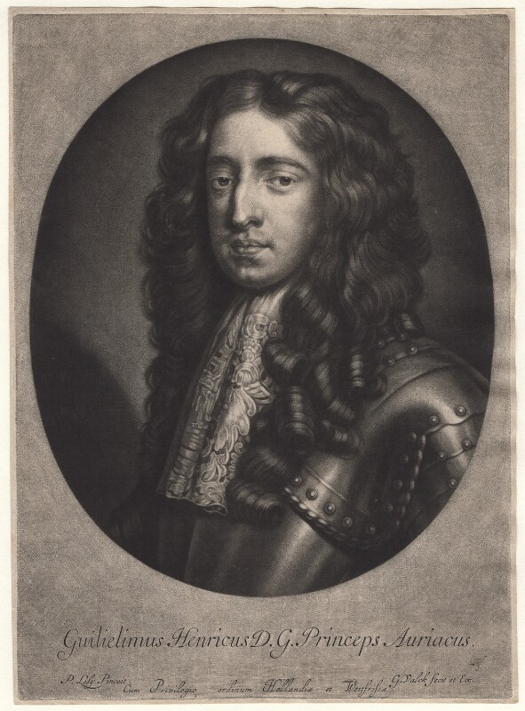 King William III when Prince of Orange, by Gerard Valck, after  Sir Peter Lely, probably late 17th century - NPG D7749 - © National Portrait Gallery, London