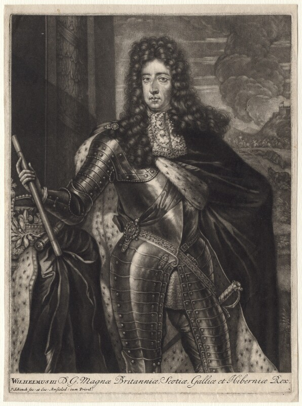 King William III, by Pieter Schenck, after  Unknown artist, probably late 17th century - NPG D7750 - © National Portrait Gallery, London