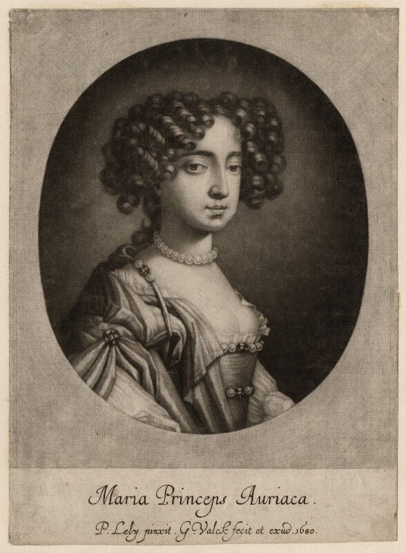Queen Mary II when Princess of Orange, by and published by Gerard Valck, after  Sir Peter Lely, 1680 - NPG D7757 - © National Portrait Gallery, London