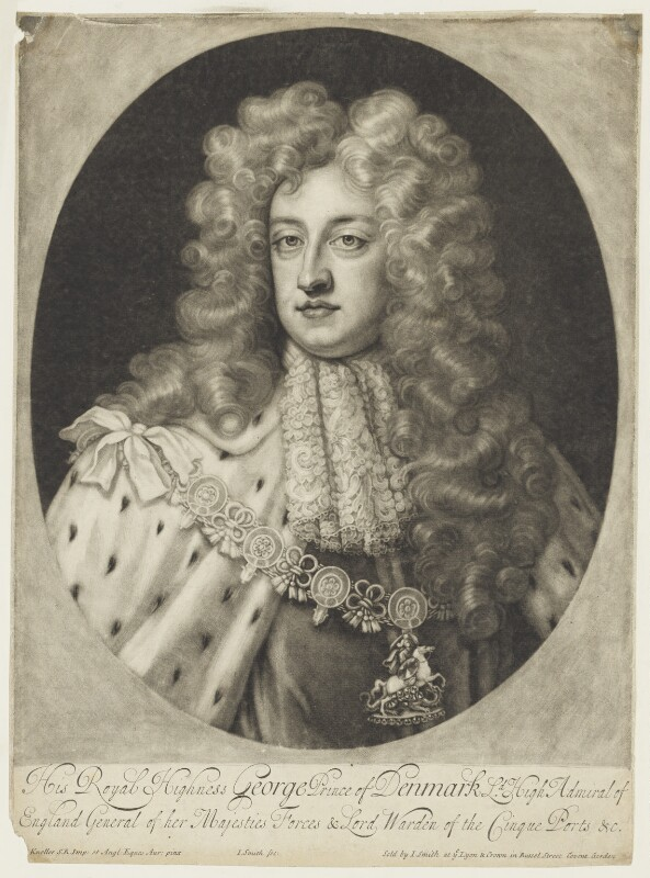 Prince George of Denmark, Duke of Cumberland, by and published by John Smith, after  Sir Godfrey Kneller, Bt, 1702 - NPG D7784 - © National Portrait Gallery, London