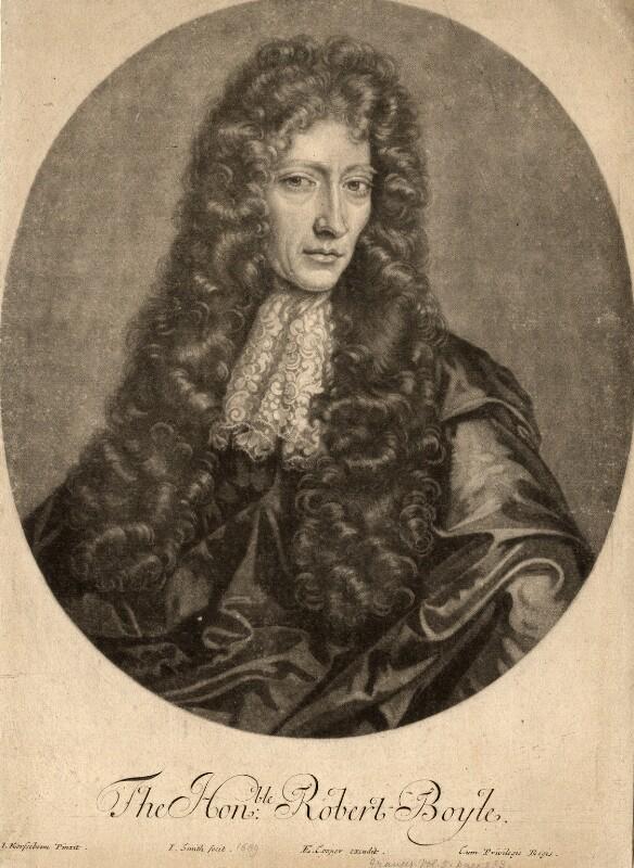 Robert Boyle, by John Smith, published by  Edward Cooper, after  Johann Kerseboom, 1689 (1689) - NPG D780 - © National Portrait Gallery, London