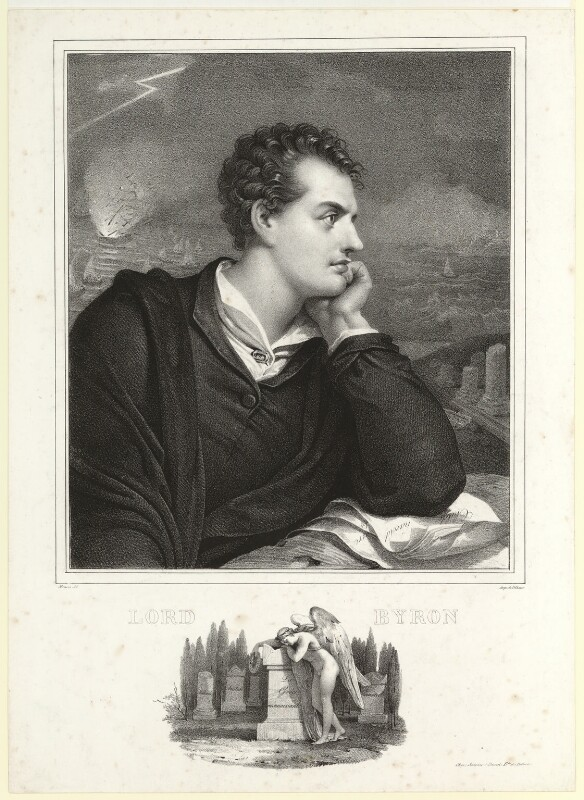George Gordon Byron, 6th Baron Byron, by Nicolas Eustache Maurin, printed by  François Le Villain, after  Richard Westall, (1813) - NPG D7811 - © National Portrait Gallery, London