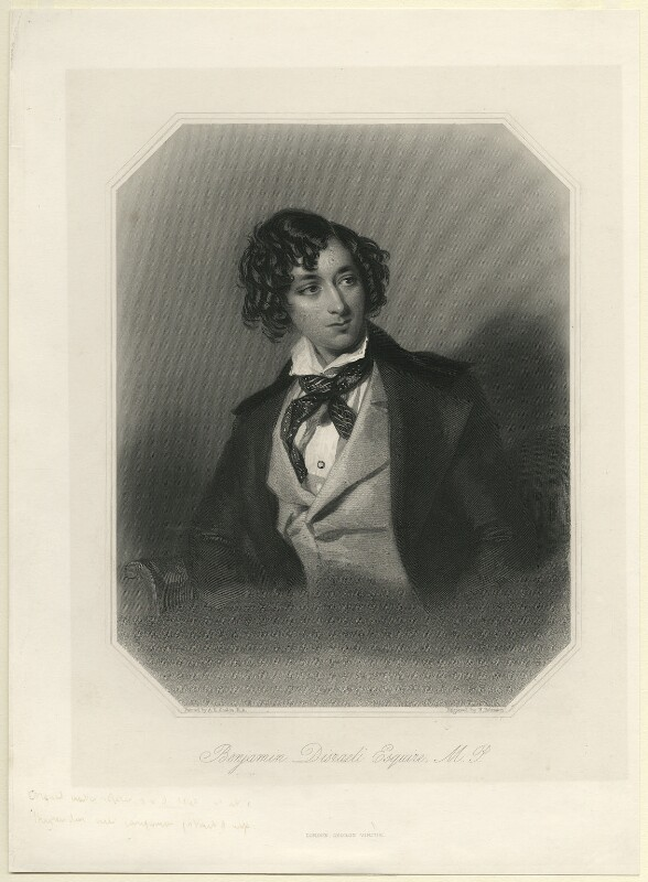 Benjamin Disraeli, Earl of Beaconsfield, by John Henry Robinson, published by  George Virtue, after  Alfred Edward Chalon, (1840) - NPG D7817 - © National Portrait Gallery, London