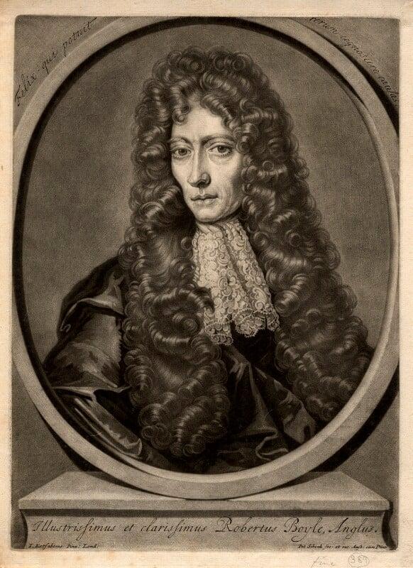Robert Boyle, by Pieter Schenck, after  Johann Kerseboom, (circa 1689-1690) - NPG D782 - © National Portrait Gallery, London