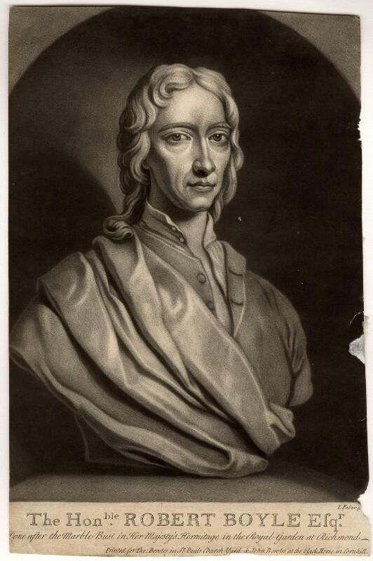 Robert Boyle, by John Faber Jr, after  Unknown artist, (circa 1689-1690) - NPG D783 - © National Portrait Gallery, London