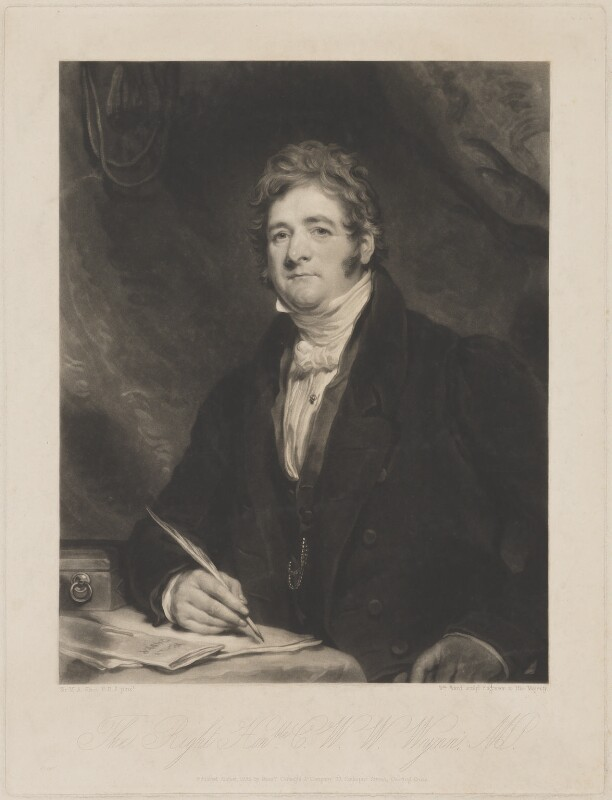 Charles Watkin Williams Wynn, by William Ward, published by  Colnaghi & Co, after  Sir Martin Archer Shee, published August 1835 - NPG D7855 - © National Portrait Gallery, London