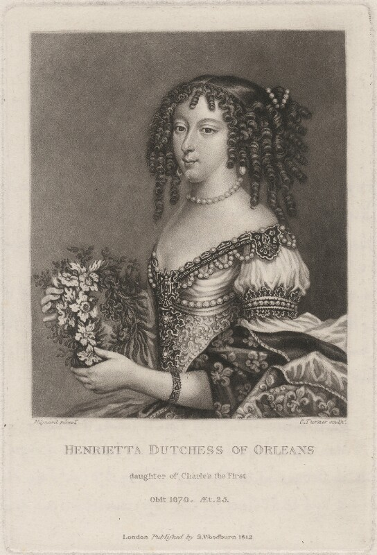 Henrietta Anne, Duchess of Orleans, by Charles Turner, after  Pierre Mignard, published 1812 - NPG D7875 - © National Portrait Gallery, London
