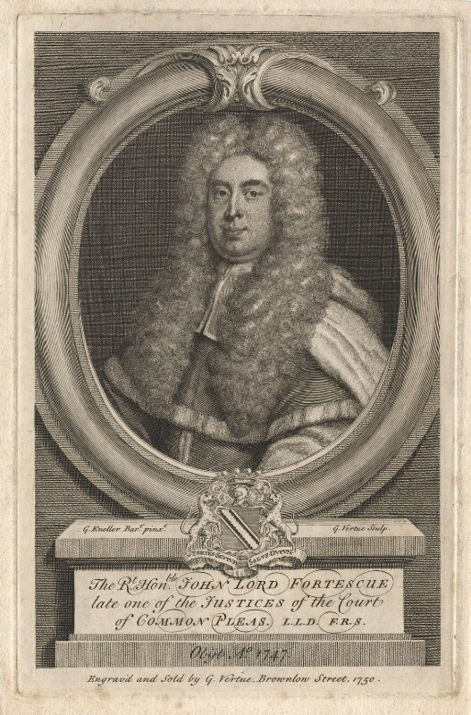 John Fortescue-Aland, Baron Fortescue of Credan, by George Vertue, after  Sir Godfrey Kneller, Bt, 1750 - NPG D7892 - © National Portrait Gallery, London