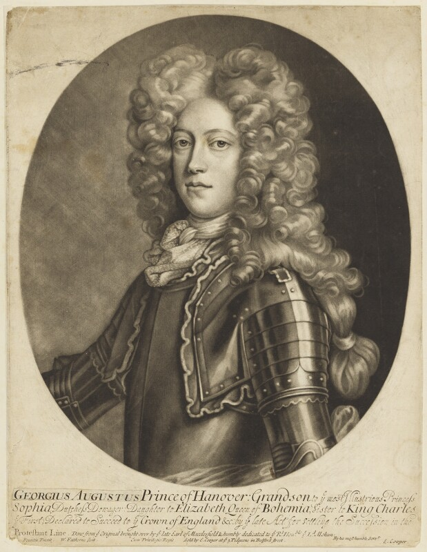 King George II when Prince of Hanover, by William Faithorne Jr, after  Georg Wilhelm Lafontaine (Fountain, Fontaine), 1700-1710 (1701 or before) - NPG D7906 - © National Portrait Gallery, London