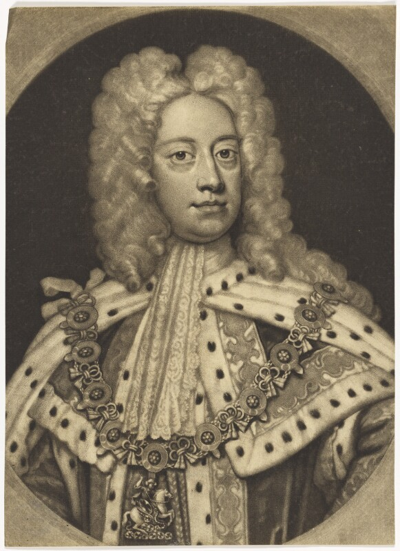 King George II when Prince of Wales, by John Smith, after  Sir Godfrey Kneller, Bt, 1717 - NPG D7907 - © National Portrait Gallery, London