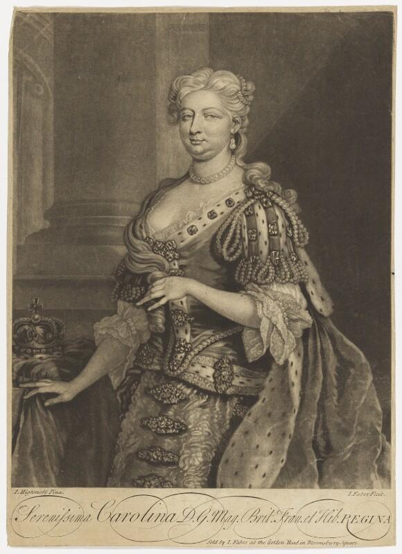 Caroline Wilhelmina of Brandenburg-Ansbach, by John Faber Jr, after  Joseph Highmore, 1727 or after - NPG D7914 - © National Portrait Gallery, London