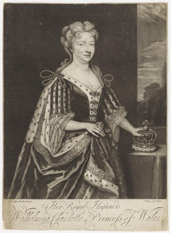 Caroline Wilhelmina of Brandenburg-Ansbach when Princess of Wales, by John Faber Jr, after  Sir Godfrey Kneller, Bt, (1716) - NPG D7917 - © National Portrait Gallery, London