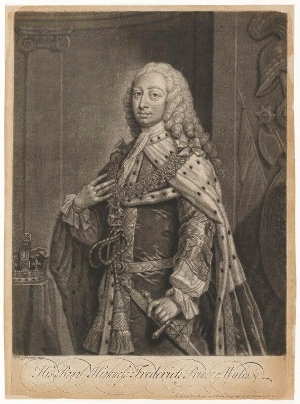 Frederick Lewis, Prince of Wales, by John Faber Jr, after  Jeremiah Davison, 1739 or before (1730) - NPG D7920 - © National Portrait Gallery, London