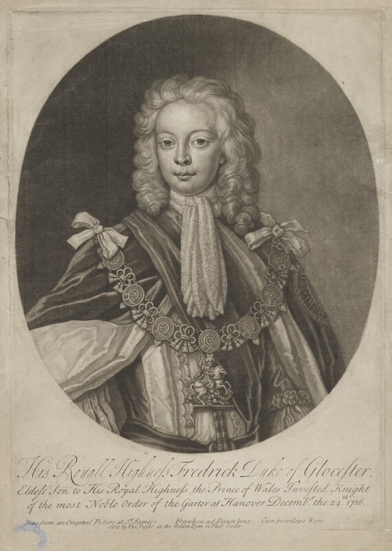Frederick Lewis, Prince of Wales, by John Faber Jr, sold by  Thomas Taylor, after  Franken, 1716 or after - NPG D7922 - © National Portrait Gallery, London