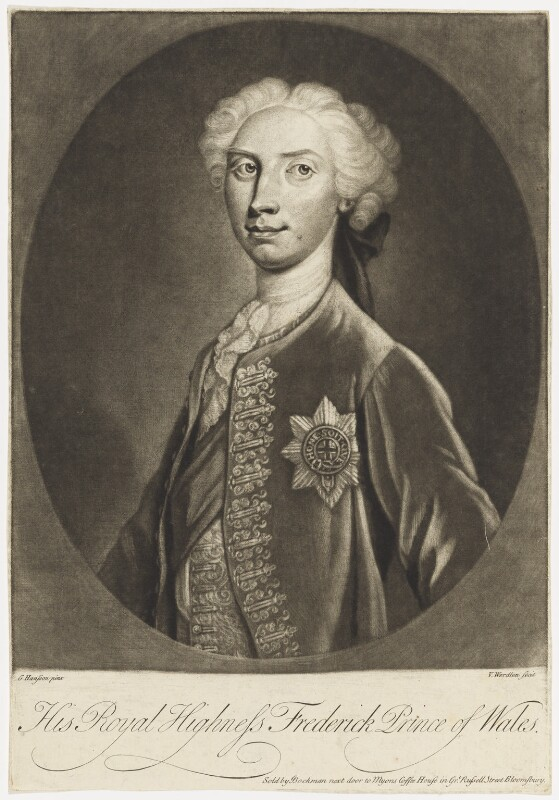 Frederick Lewis, Prince of Wales, by Van Werdlen, after  G. Hansson, 1729 or after - NPG D7923 - © National Portrait Gallery, London