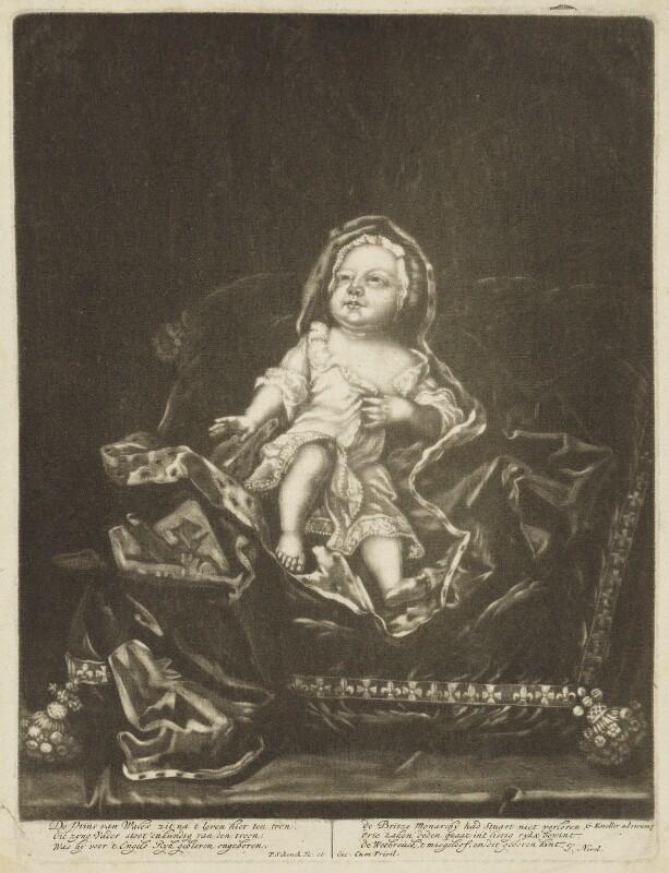 Prince James Francis Edward Stuart, by Pieter Schenck, after  Sir Godfrey Kneller, Bt, (1688) - NPG D7935 - © National Portrait Gallery, London