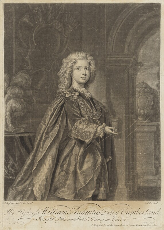 William Augustus, Duke of Cumberland, by John Faber Jr, after  Joseph Highmore, circa 1731-1734 (circa 1730) - NPG D7937 - © National Portrait Gallery, London
