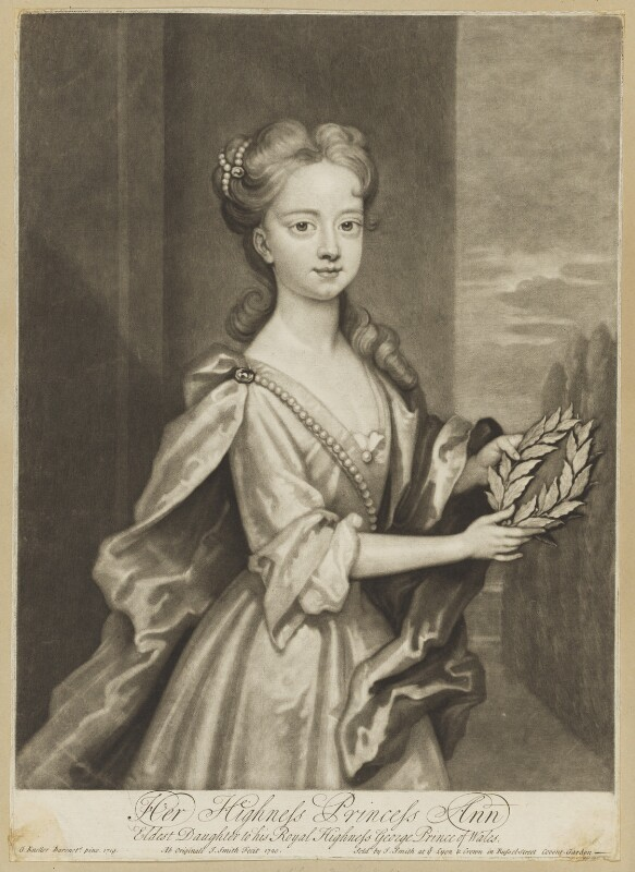 Anne, Princess Royal and Princess of Orange, by John Smith, after  Sir Godfrey Kneller, Bt, 1720 - NPG D7951 - © National Portrait Gallery, London