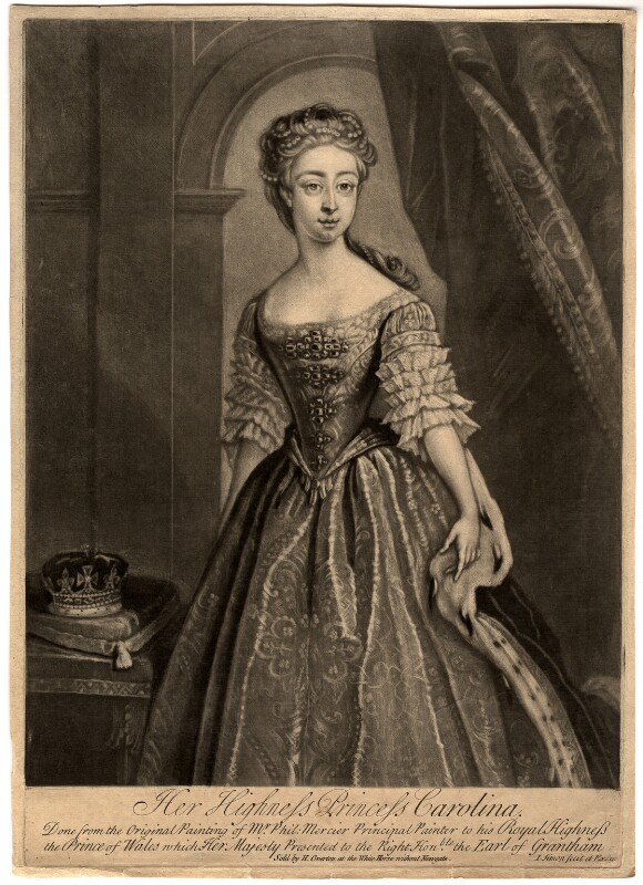 Princess Caroline Elizabeth, by John Simon, sold by  Henry Overton, after  Philip Mercier, 1728-1764 (1728) - NPG D7954 - © National Portrait Gallery, London