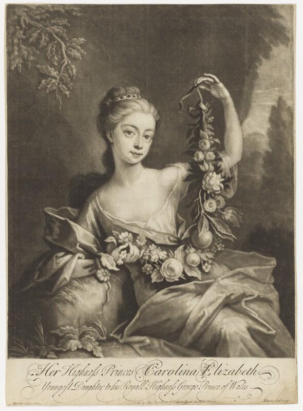 Princess Caroline Elizabeth, by John Simon, sold by  Thomas Taylor, after  Martin Maingaud, 1720-1726 (1720) - NPG D7955 - © National Portrait Gallery, London