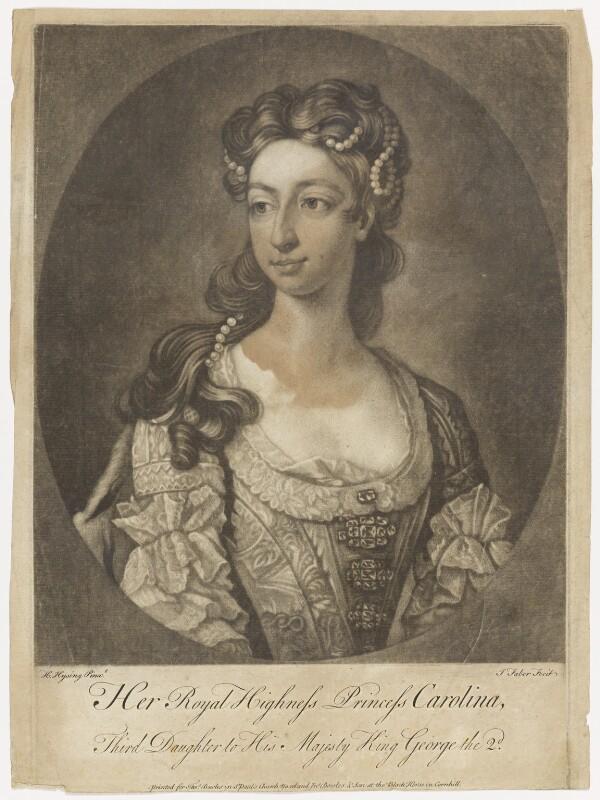 Princess Caroline Elizabeth, by John Faber Jr, after  Hans Hysing, 1734-1779 - NPG D7956 - © National Portrait Gallery, London