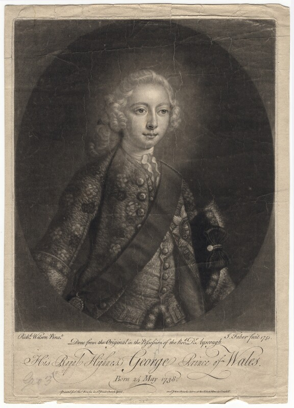 King George III when Prince of Wales, by John Faber Jr, printed for  Thomas Bowles Jr, printed for  John Bowles, printed for  Carington Bowles, after  Richard Wilson, 1751 - NPG D7992 - © National Portrait Gallery, London
