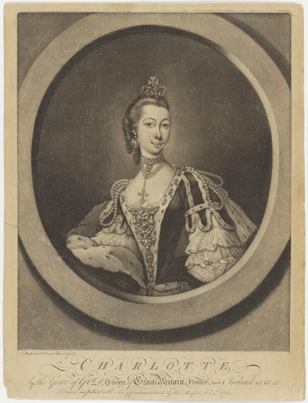 Sophia Charlotte of Mecklenburg-Strelitz, by Thomas Burford, published 1761 - NPG D8006 - © National Portrait Gallery, London