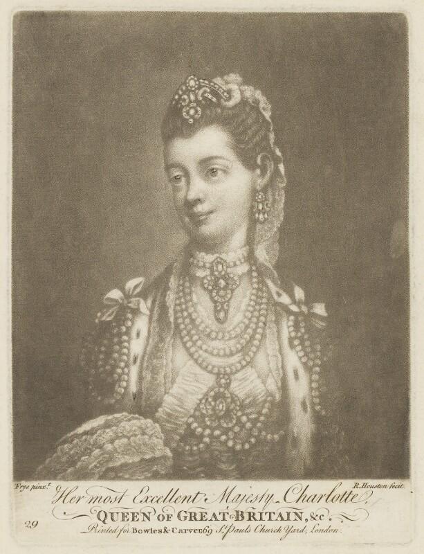 Sophia Charlotte of Mecklenburg-Strelitz, by Richard Houston, after  Thomas Frye, (1762) - NPG D8009 - © National Portrait Gallery, London
