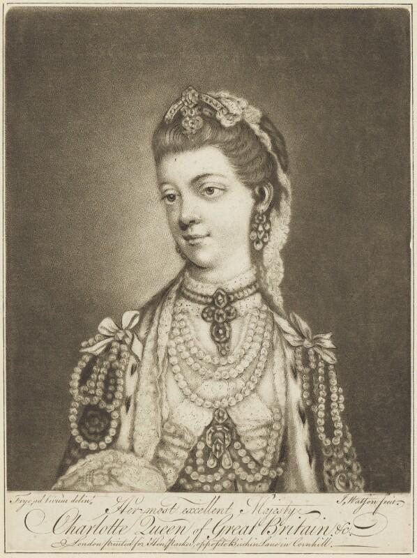 Sophia Charlotte of Mecklenburg-Strelitz, by James Watson, after  Thomas Frye, (1762) - NPG D8010 - © National Portrait Gallery, London