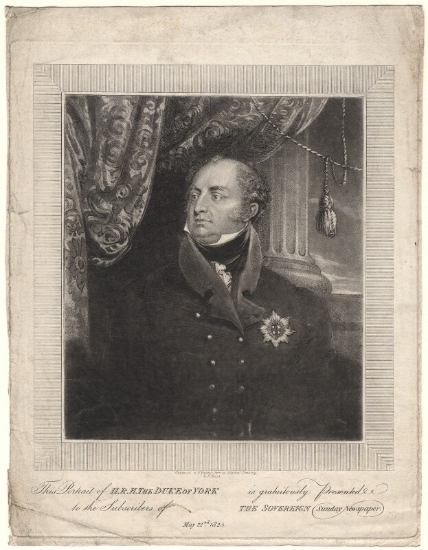 Frederick, Duke of York and Albany, by F. Vincent, after  H. Brook, 22 May 1825 - NPG D8027 - © National Portrait Gallery, London