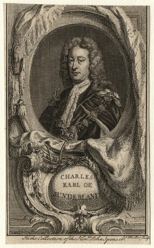 Charles Spencer, 3rd Earl of Sunderland, by Johann Sebastian Müller, after  Sir Godfrey Kneller, Bt, mid 18th century - NPG D8043 - © National Portrait Gallery, London