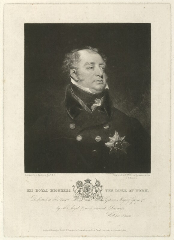 Frederick, Duke of York and Albany, by Samuel William Reynolds, by  Samuel Cousins, published by  William Sams, after  John Jackson, published 1825 - NPG D8066 - © National Portrait Gallery, London