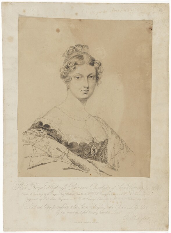 Princess Charlotte Augusta of Wales, by Frederick Christian Lewis Sr, after and published by  Sir George Hayter, published 1 December 1816 - NPG D8118 - © National Portrait Gallery, London