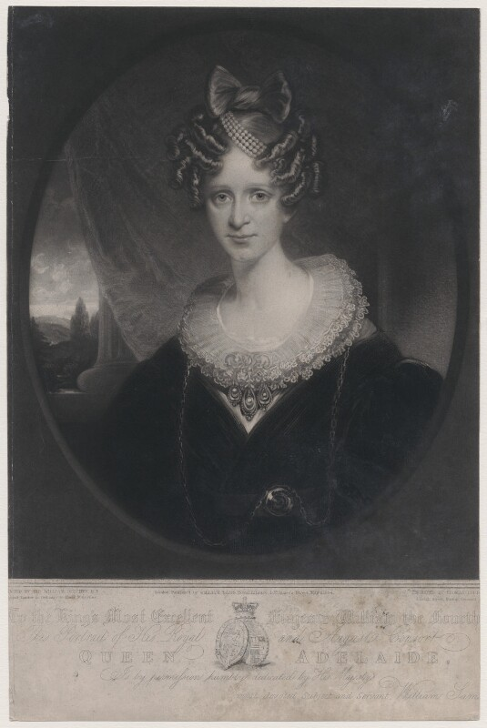 Queen Adelaide (Princess Adelaide of Saxe-Meiningen), by Thomas Goff Lupton, after  Sir William Beechey, published 1834 - NPG D8130 - © National Portrait Gallery, London