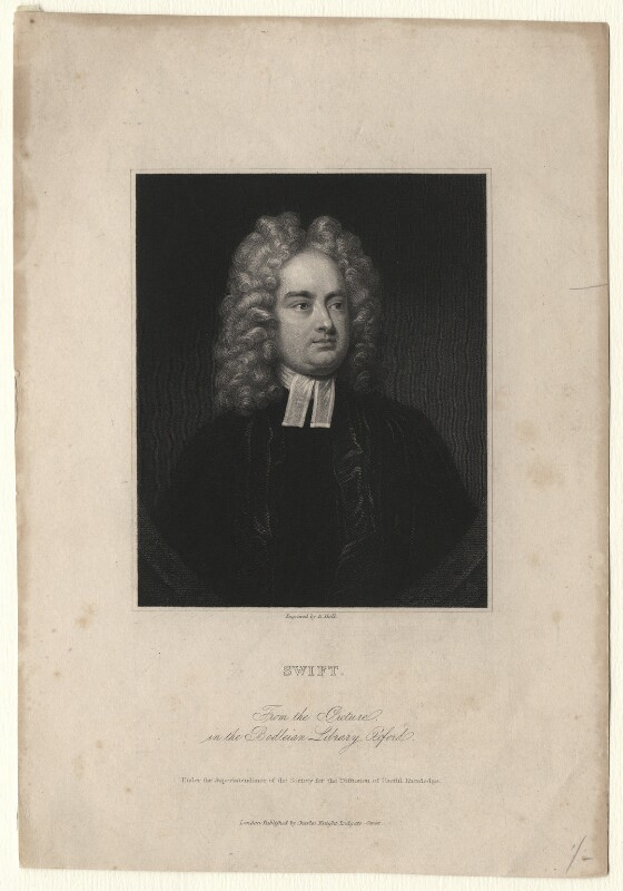 Jonathan Swift, by Benjamin Holl, after  Charles Jervas, mid 19th century - NPG D8206 - © National Portrait Gallery, London