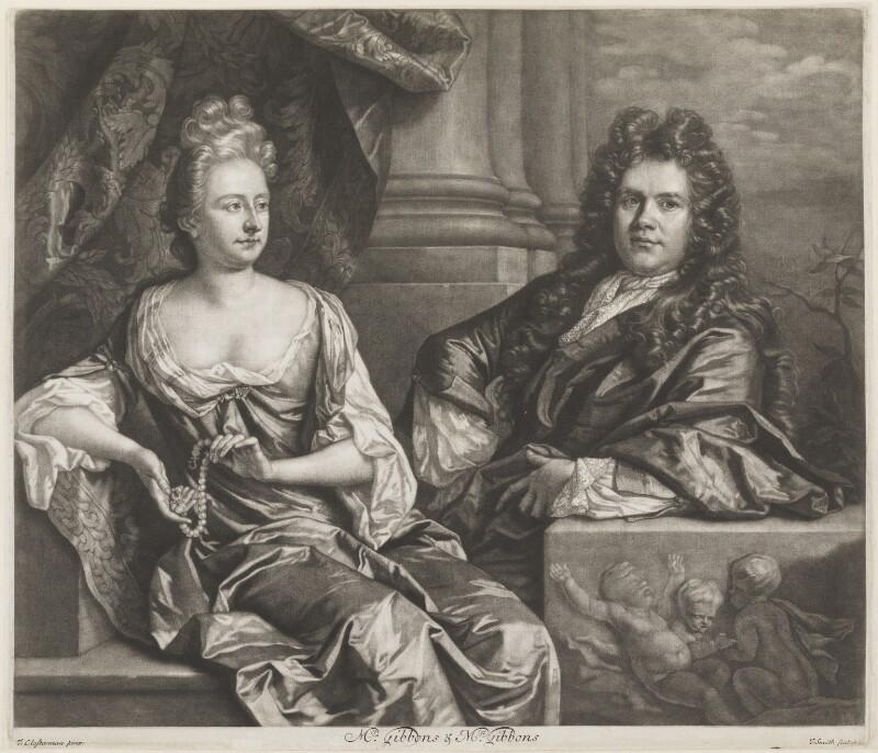 Grinling Gibbons; Elizabeth Gibbons, by and published by John Smith, after  John Closterman, 1691 (1691) - NPG D8230 - © National Portrait Gallery, London