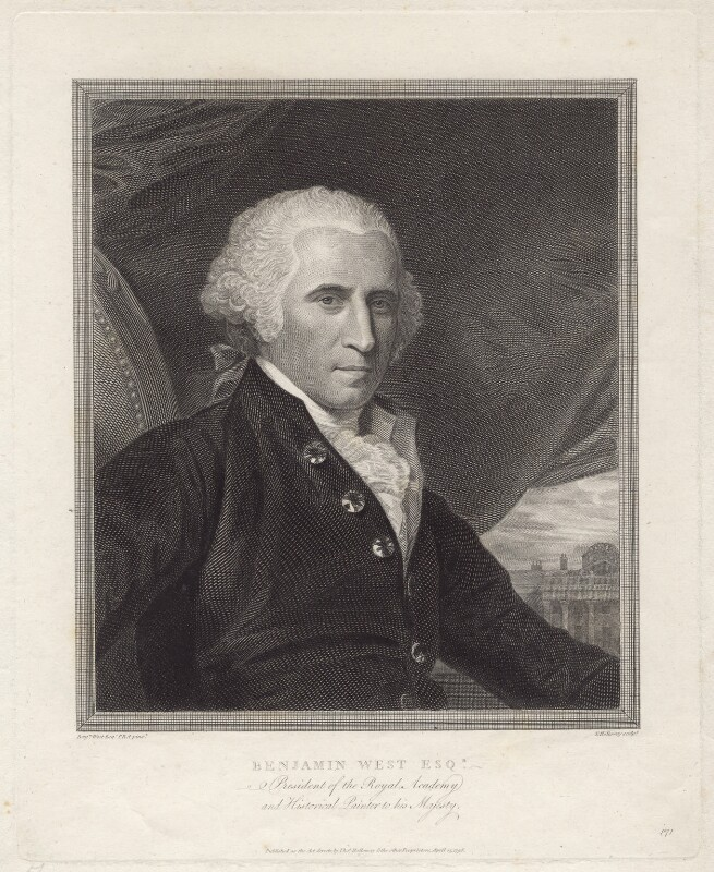 Benjamin West, by Thomas Holloway, after  Benjamin West, published 1798 - NPG D8266 - © National Portrait Gallery, London