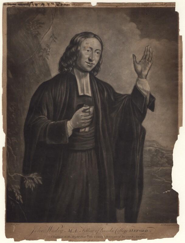 John Wesley, by John Greenwood, after  Nathaniel Hone, published 20 December 1770 (circa 1766) - NPG D8305 - © National Portrait Gallery, London