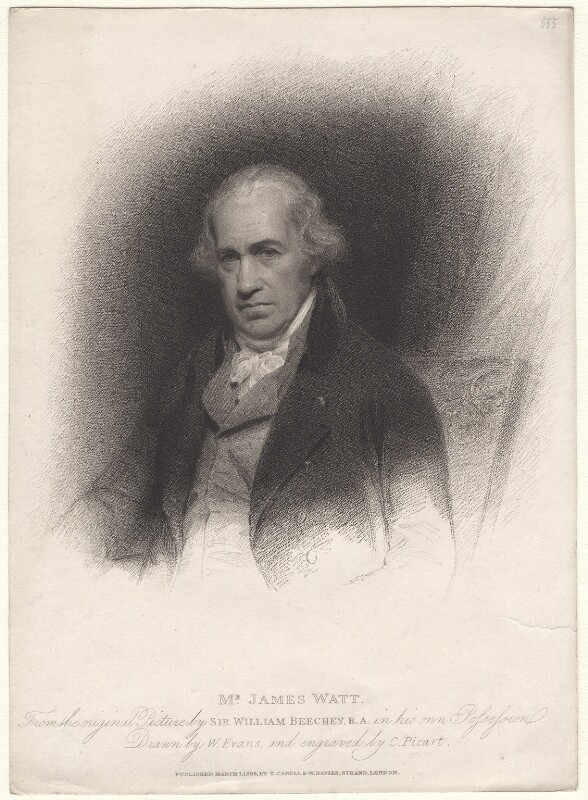 James Watt, by Charles Picart, after  Sir William Beechey, published 1809 - NPG D8374 - © National Portrait Gallery, London