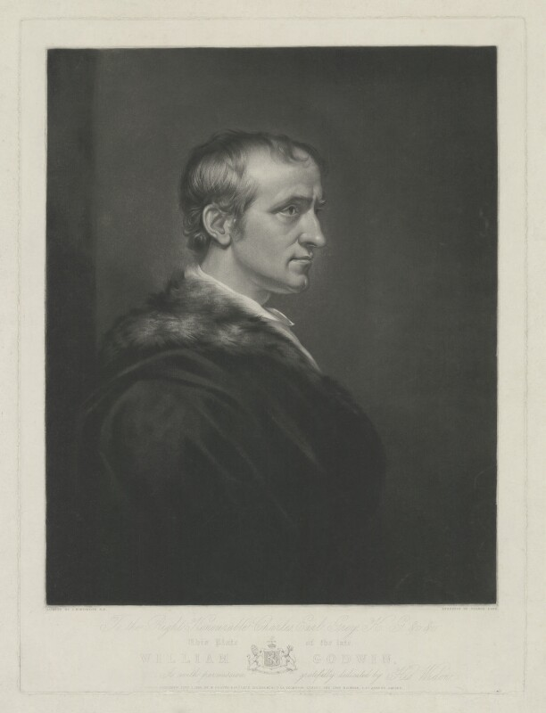 William Godwin, by George Dawe, published by  Francis Graves & Co, and published by  James Macrone, after  James Northcote, published 1 June 1836 (1802) - NPG D8415 - © National Portrait Gallery, London