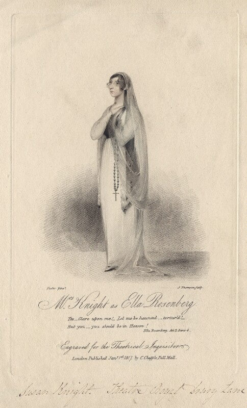 Susan Knight (née Smith) as Ella Rosenberg in Kenney's 'Ella Rosenberg', by James Thomson (Thompson), after  W. Foster, published 1817 - NPG D8455 - © National Portrait Gallery, London