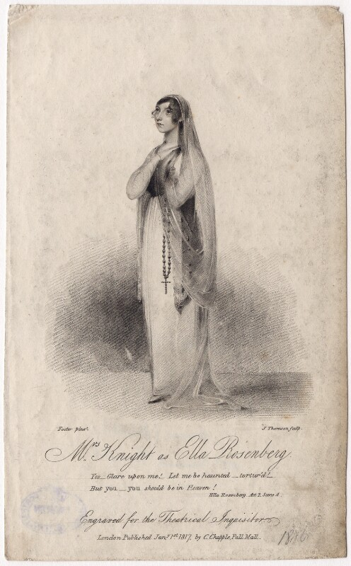 Susan Knight (née Smith) as Ella Rosenberg in Kenney's 'Ella Rosenberg', by James Thomson (Thompson), after  W. Foster, published 1817 - NPG D8456 - © National Portrait Gallery, London